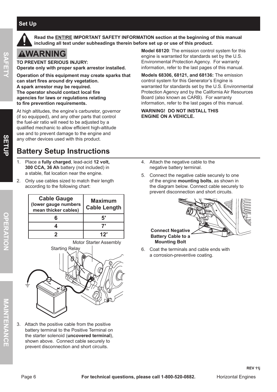 Battery Setup Instructions  Safety Opera Tion Maintenance