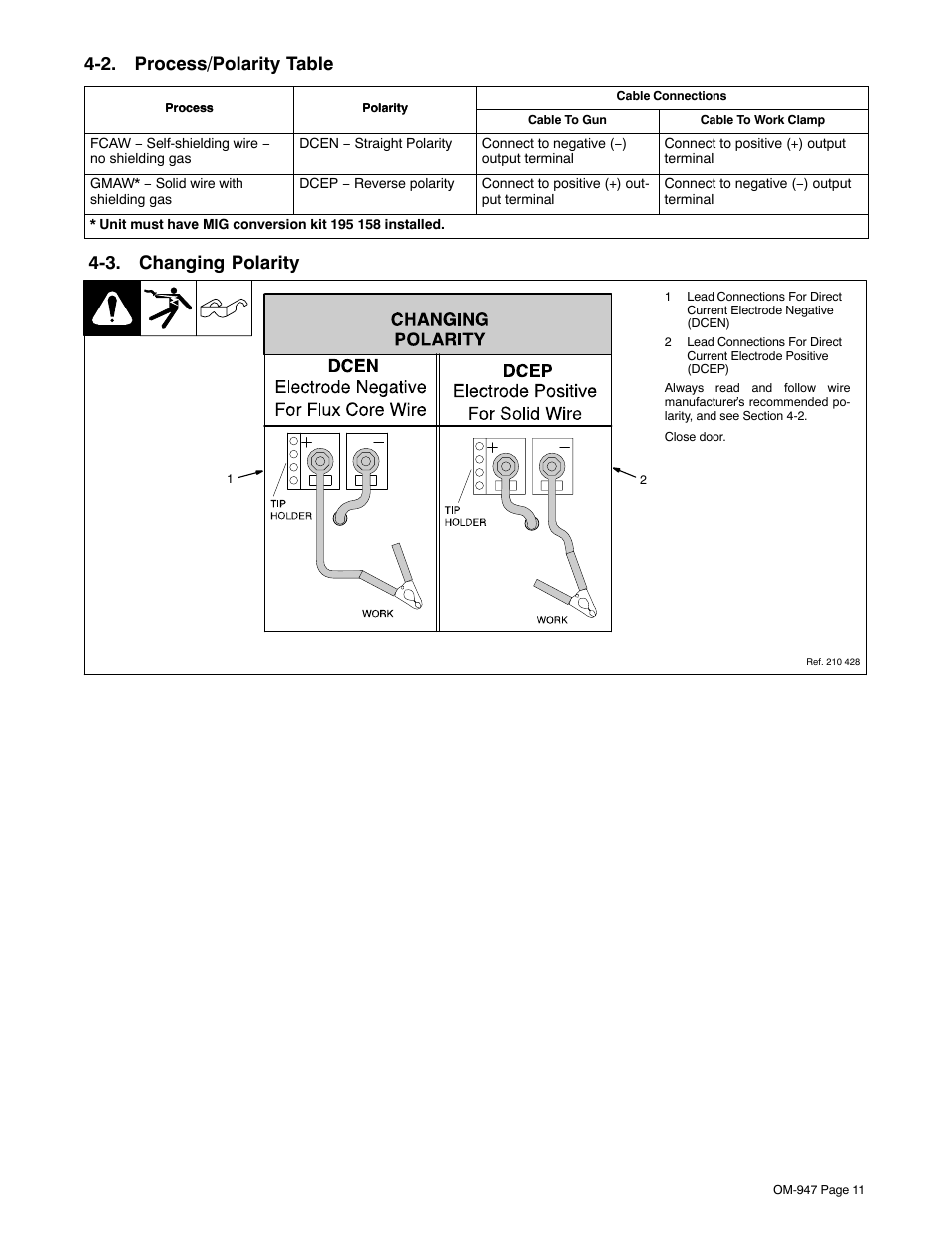 2 Process Polarity Table 3 Changing Hobart Welding Wiring Diagram Products Handler 125 And H 9b Gun Om 947 212 149d User Manual Page 15 48