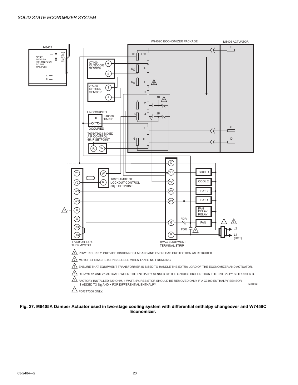 Solid State Economizer System Honeywell M8405 User Manual Page Wiring Diagram 20 32