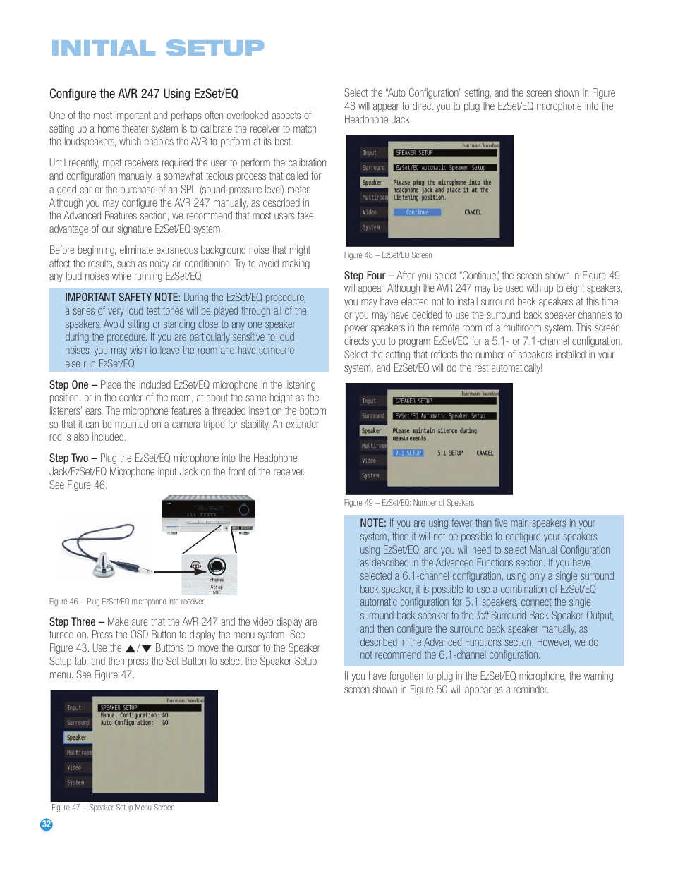 initial setup harman kardon avr 247 user manual page 32 76 rh manualsdir com Harman Kardon AVR 247 Problems Harman Kardon AVR 247 Manual