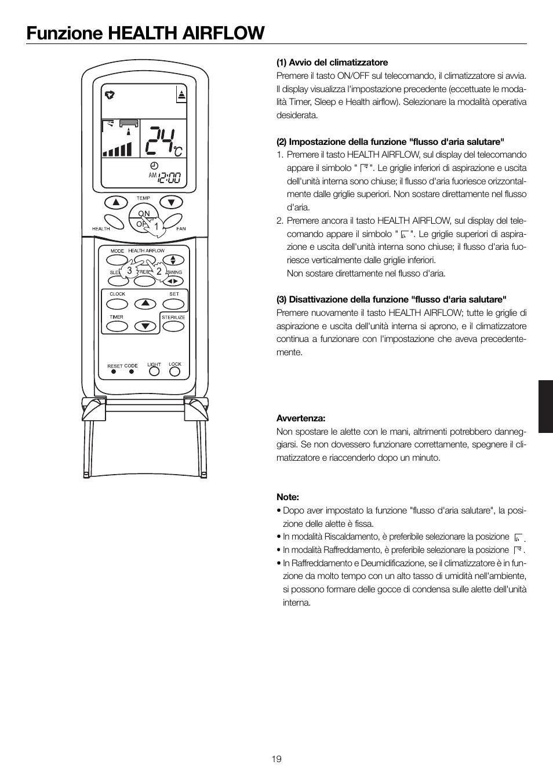 Funzione Health Airflow Haier 0010552537 User Manual
