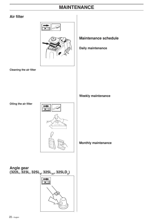 Maintenance schedule, Maintenance, Air filter | Husqvarna