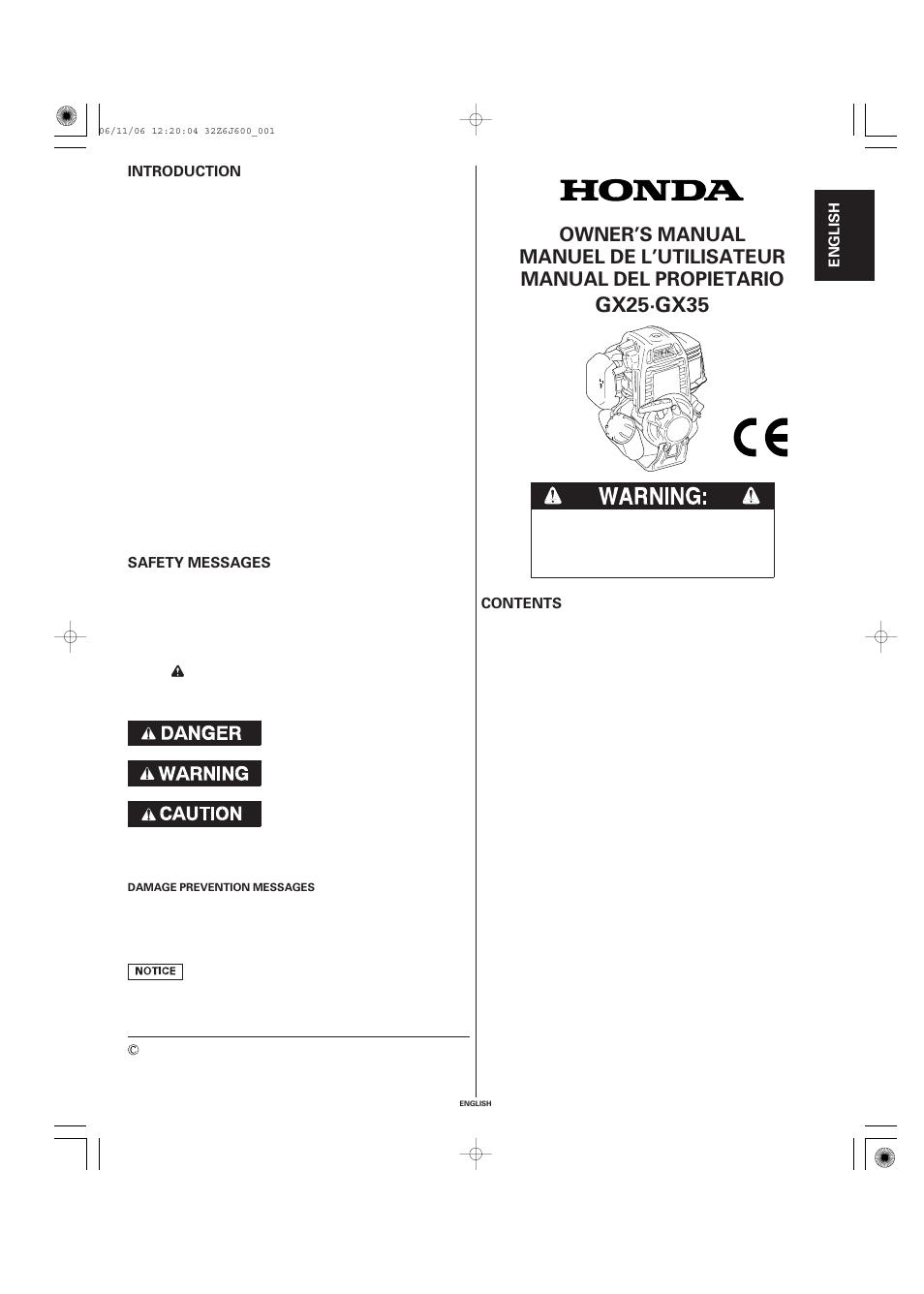 Honda Gx35 User Manual