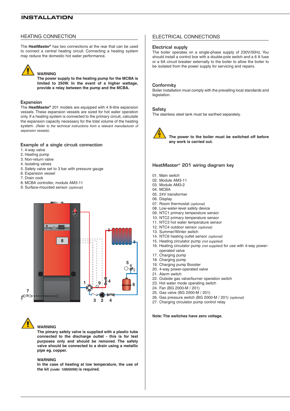 Electrical Connections Installation Heating Connection Heatmaster 3 Phase 12 Poll Switch Wiring Diagram 201 User Manual Page 28
