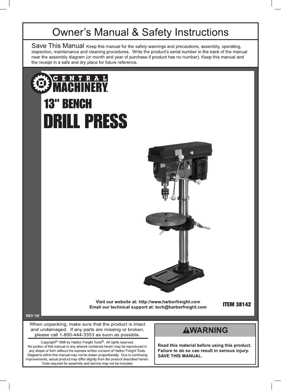 central machinery drill press manual