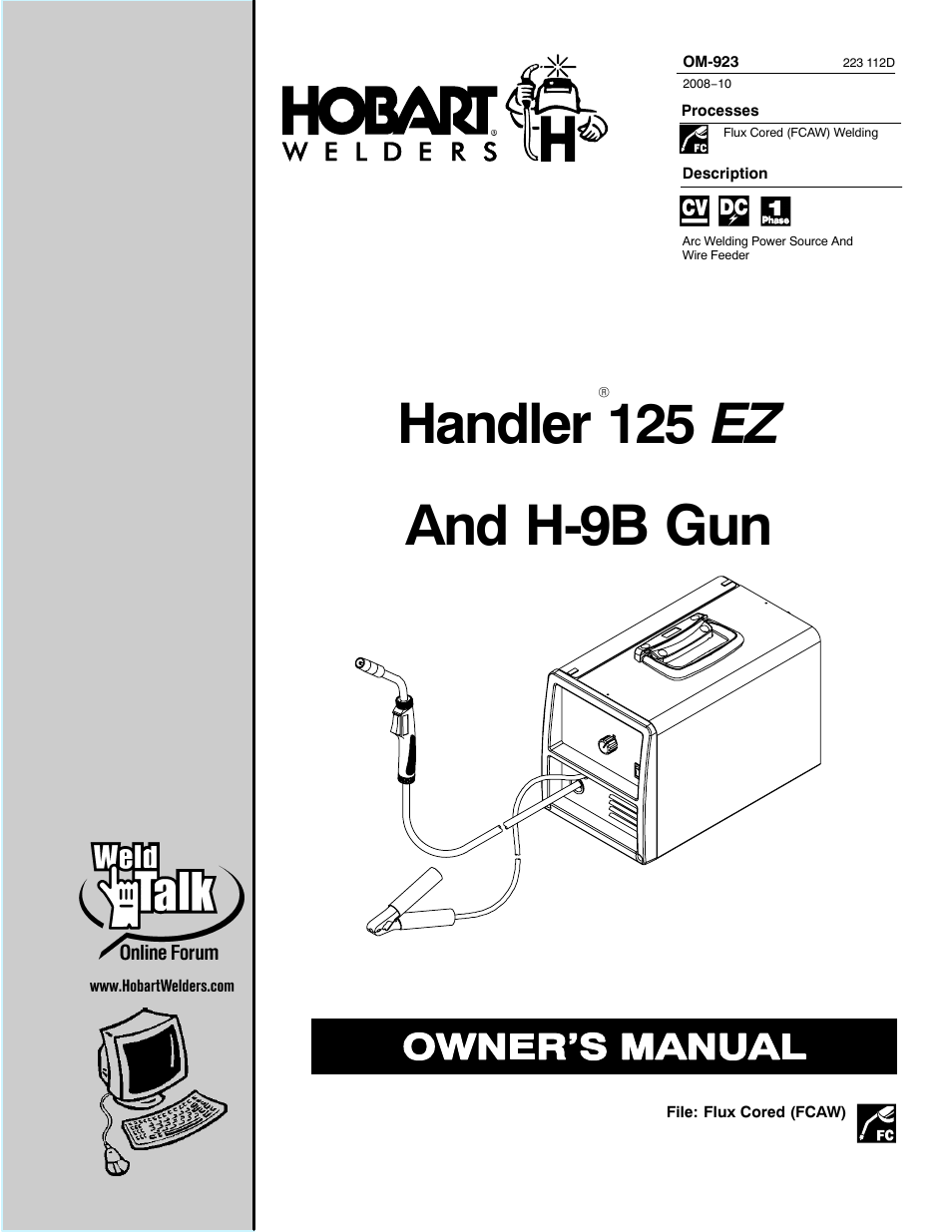 hobart welding products handler 125 ez user manual