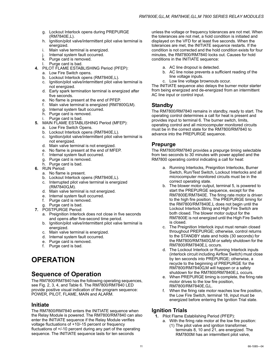 Operation Sequence Of Initiate Honeywell Rm7800g User Motor Restart Control Relay Manual Page 11 16