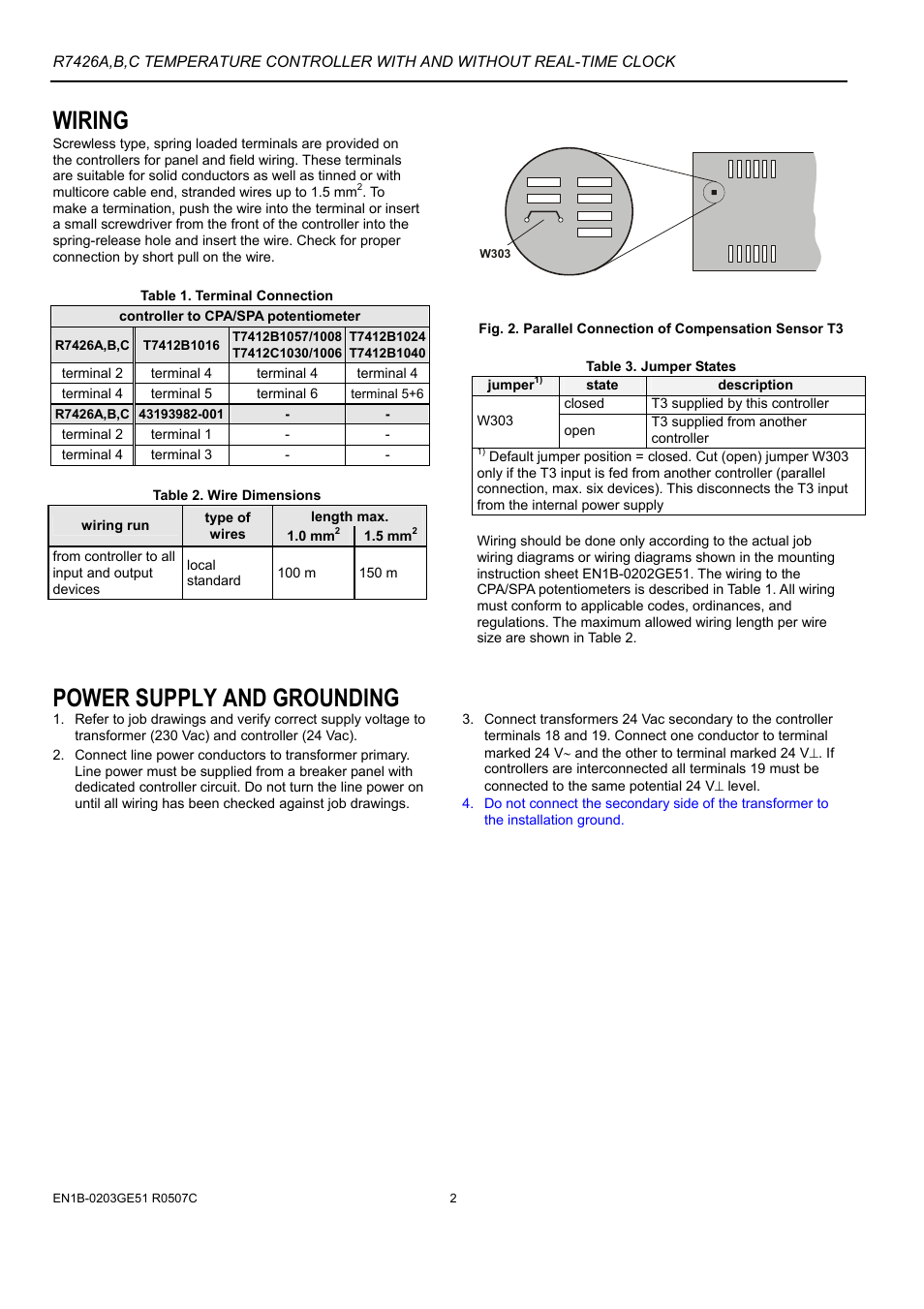 Wiring Power Supply And Grounding Honeywell Micronik 200 R7426a Potentiometer Diagram User Manual Page 2 20