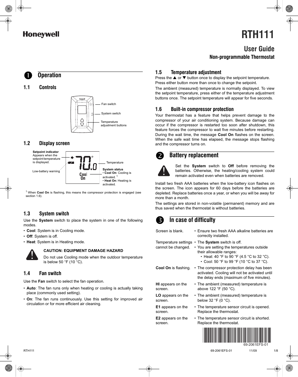 Honeywell RTH111 User Manual | 8 pages