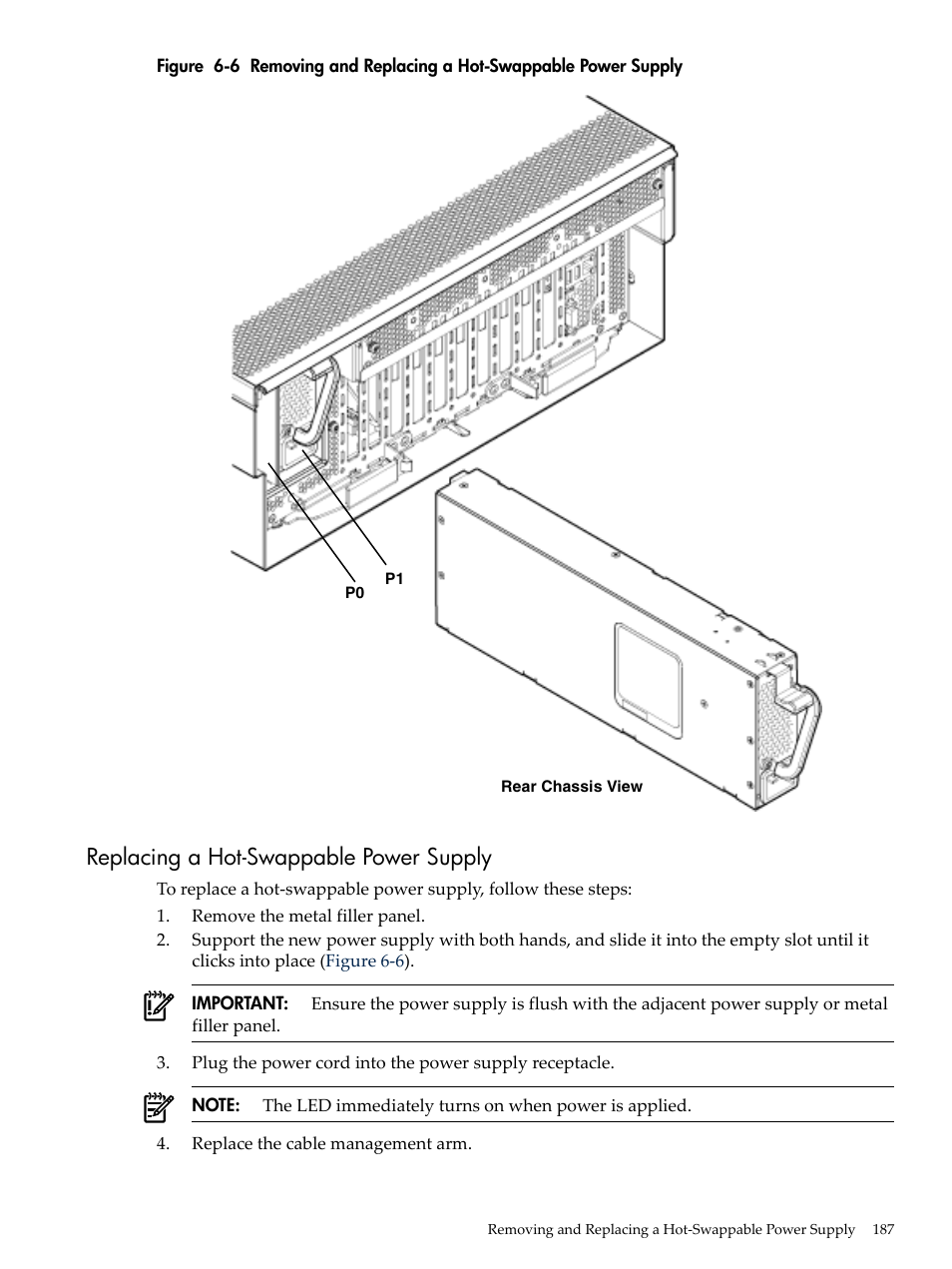 hp integrity rx3600 page187 replacing a hot swappable power supply, figure 6 6 hp integrity