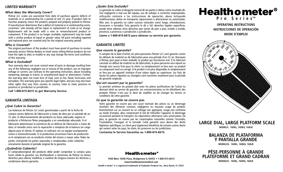 Health O Meter Pro Series 160lb User Manual 2 Pages Original