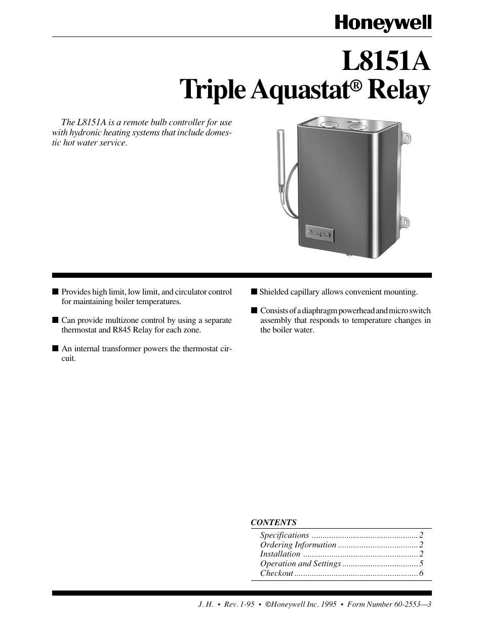 Honeywell Tripleaquastat L8151a User Manual 6 Pages Boiler Aquastat Wiring Diagram