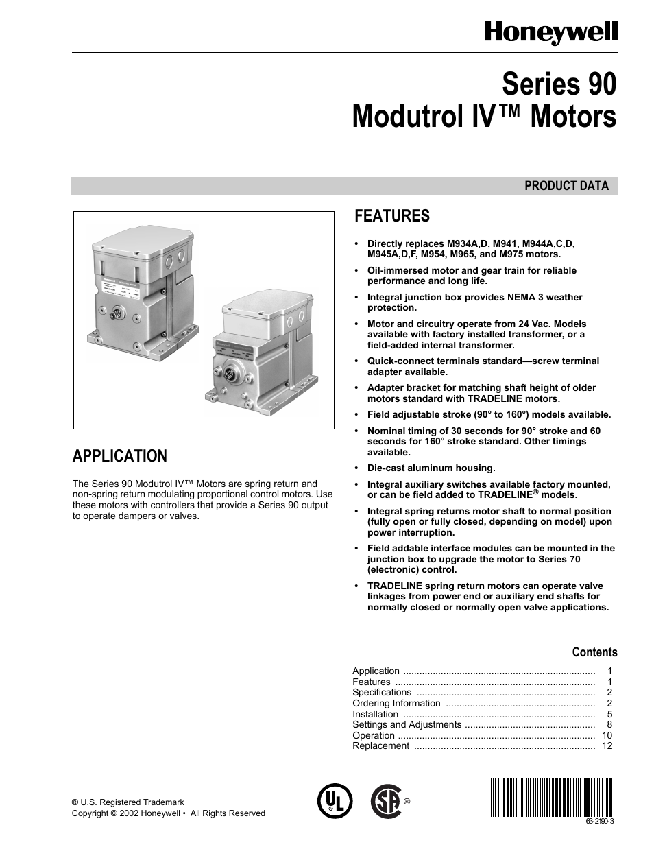 honeywell modutrol iv motors series 90 user manual 12 pages