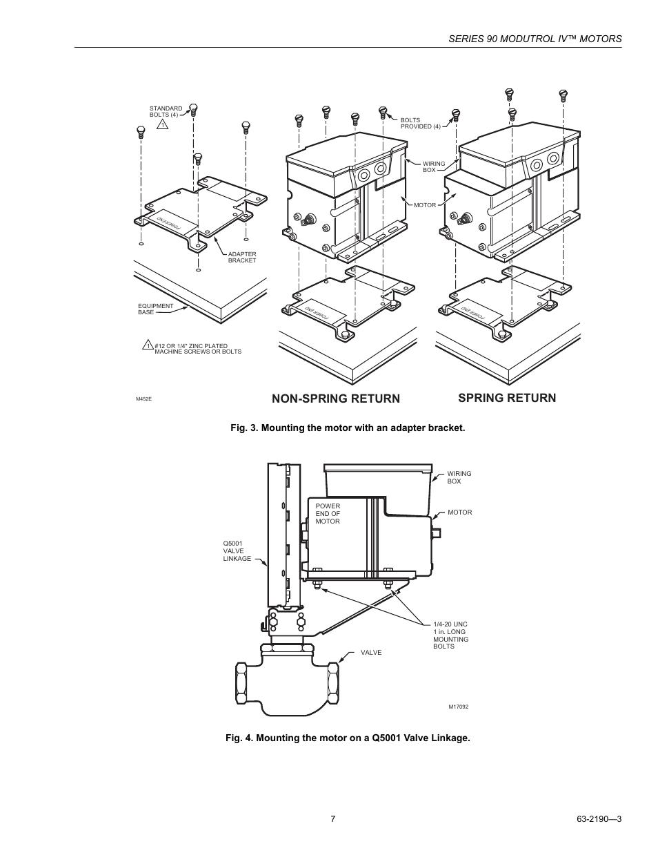 Non-spring return spring return, Series 90 modutrol iv™ motors | Honeywell  Modutrol IV Motors Series 90 User Manual | Page 7 / 12