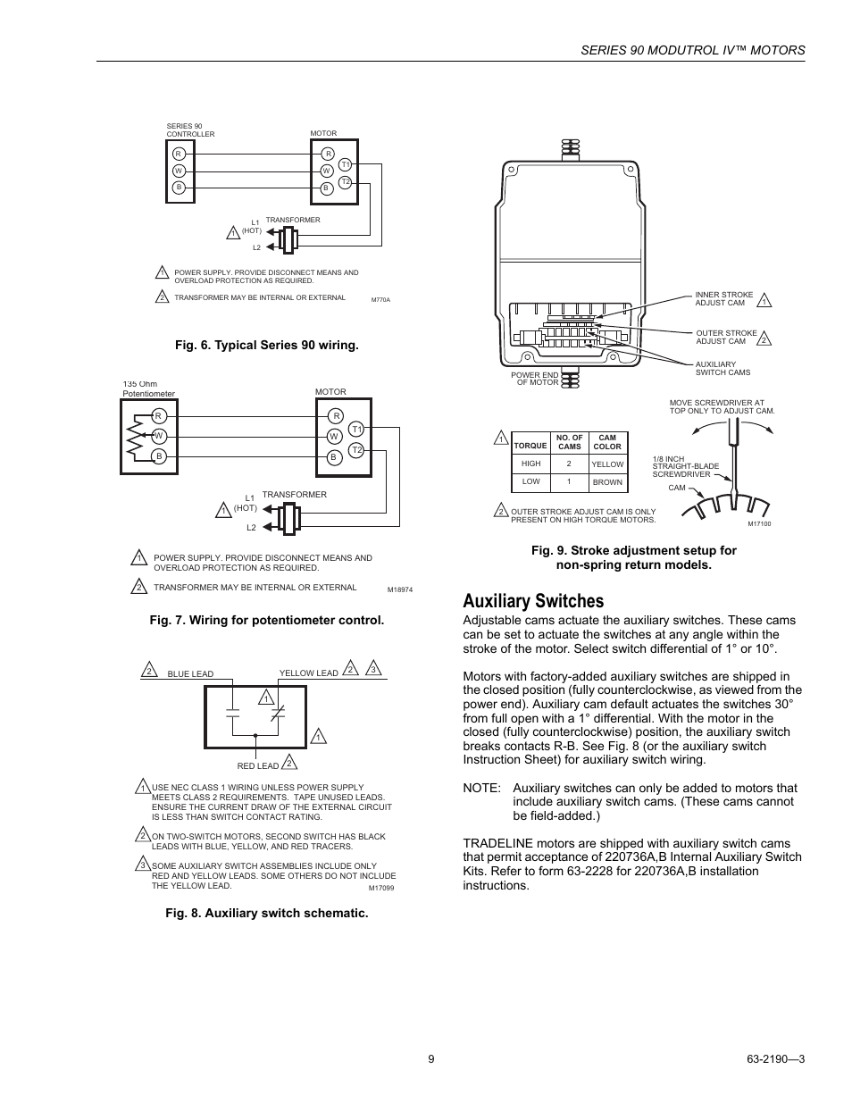 Auxiliary switches, Series 90 modutrol iv™ motors | Honeywell Modutrol IV  Motors Series 90 User Manual | Page 9 / 12
