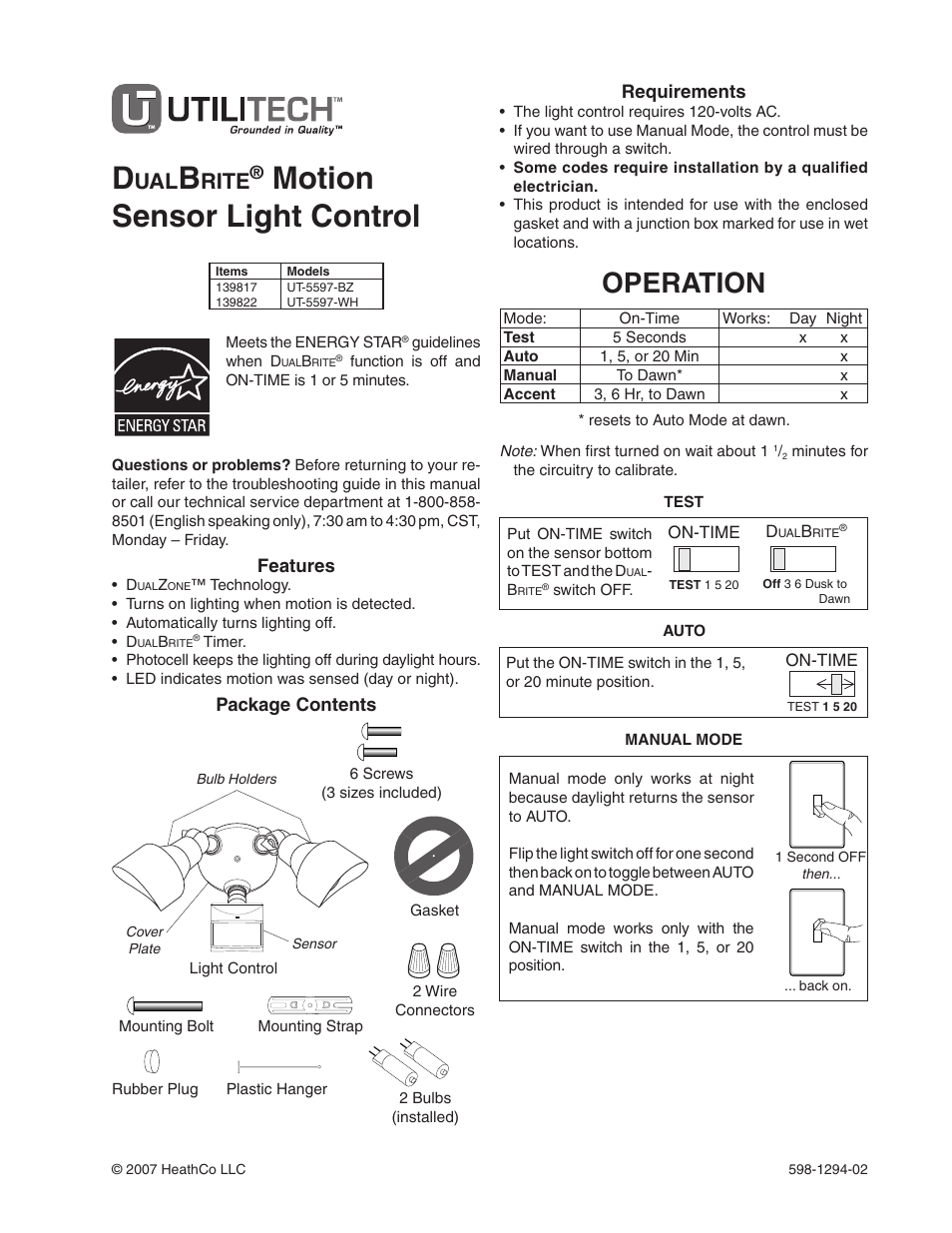 Heath Zenith Dualbrite Motion Sensor Light Control Ut 5597 Wh User 2wire Install Diagram Manual 20 Pages Also For Bz