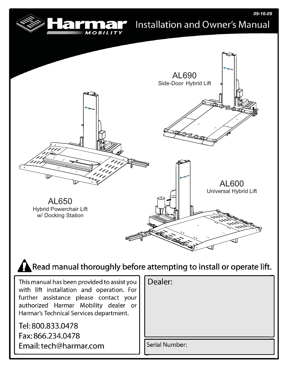 Harmar Mobility AL600 User Manual | 20 pages | Also for ... on