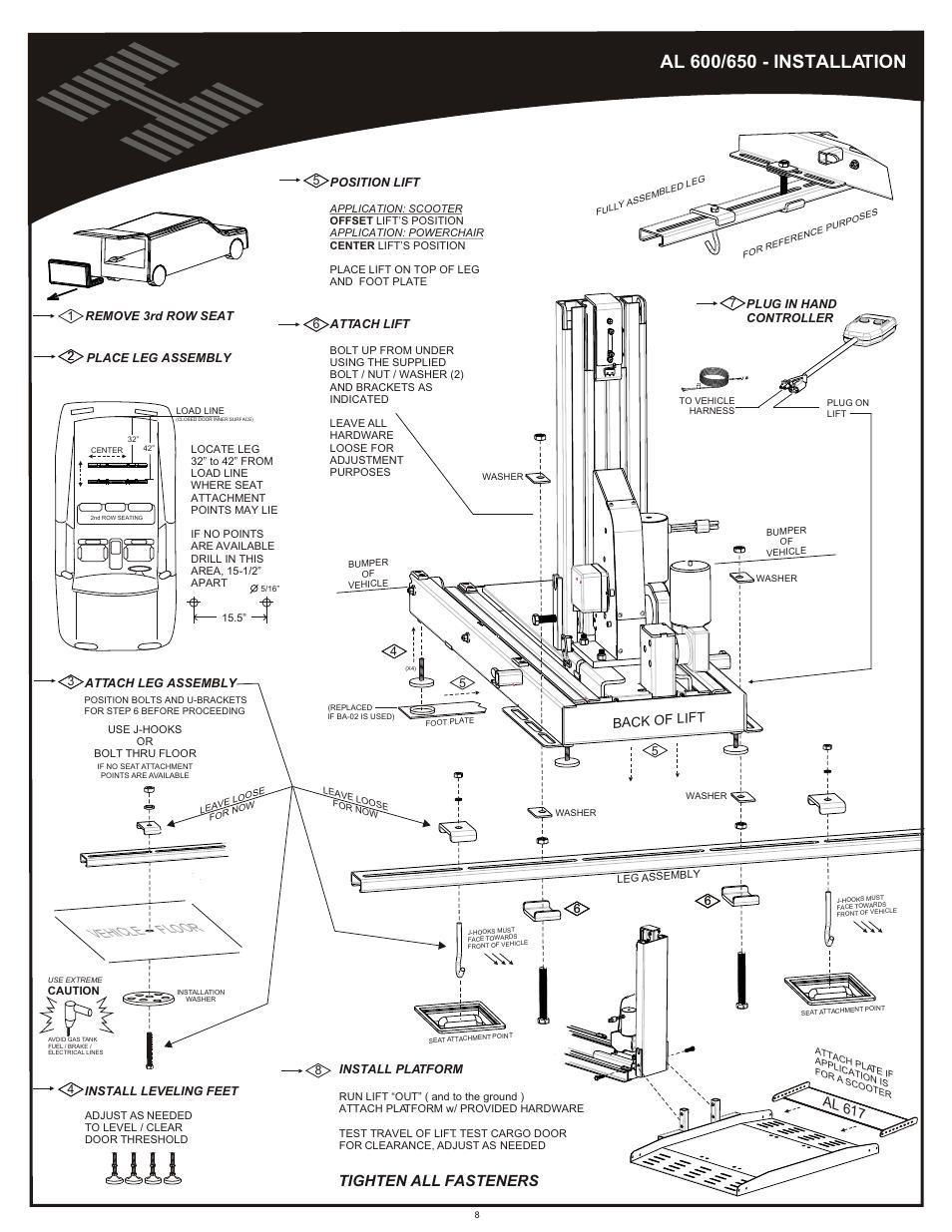 Installation al600/650, Vehicle floor, Tighten all fasteners ... on