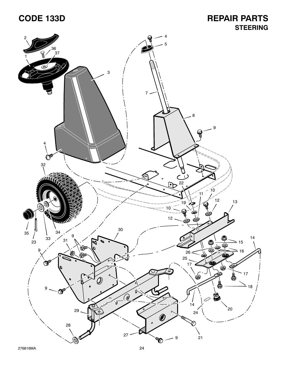 Repair Parts Code 133d  Steering