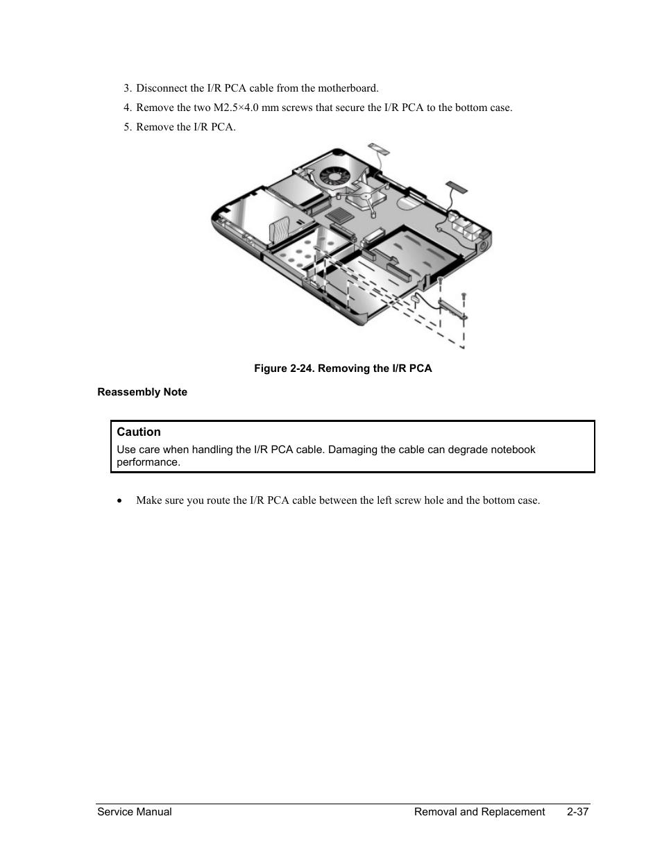 Figure 2-24. removing the i/r pca -37 | HP Pavilion