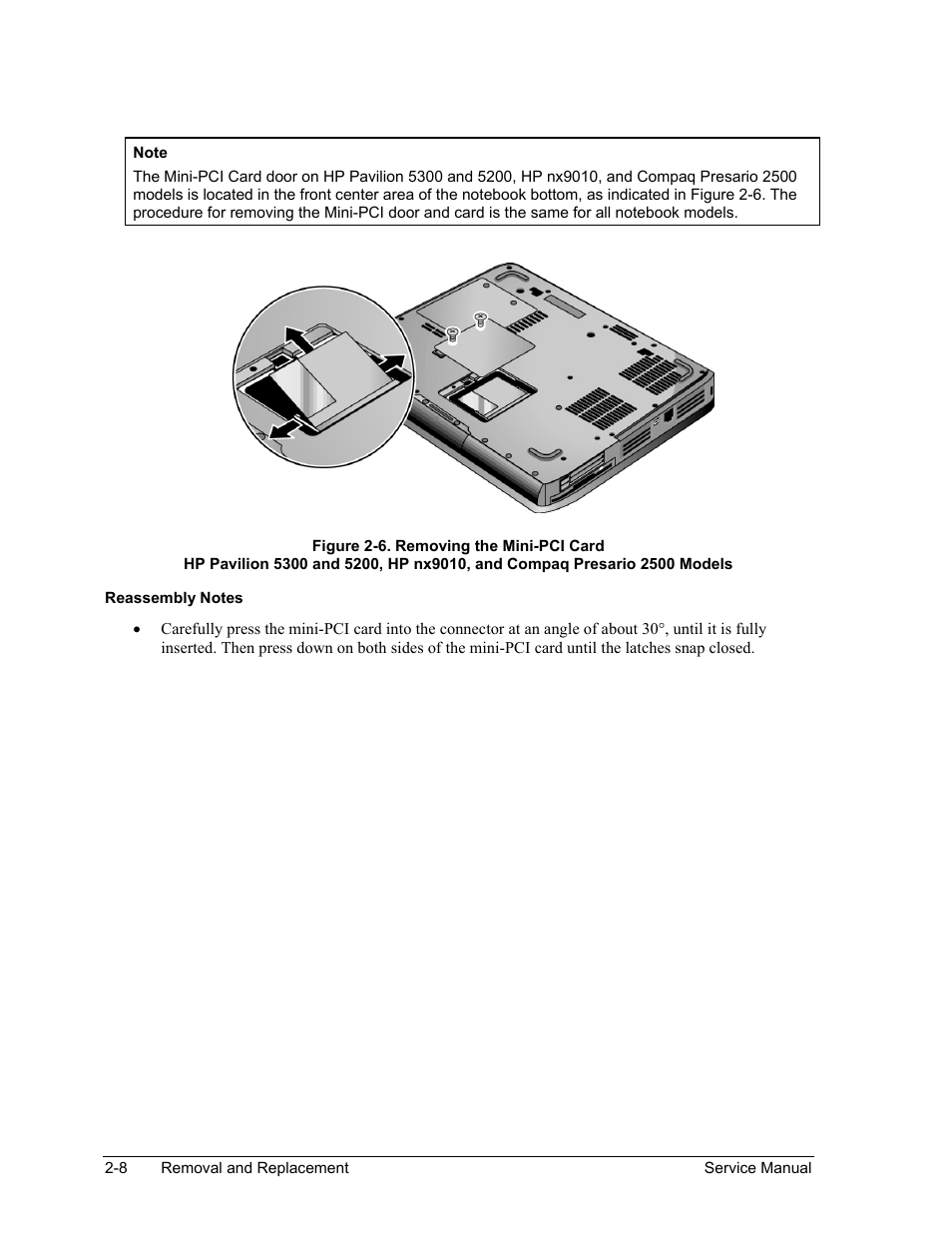 Figure 2-6. removing the mini-pci card -8 | HP Pavilion ze5300 User Manual  | Page 79 / 188