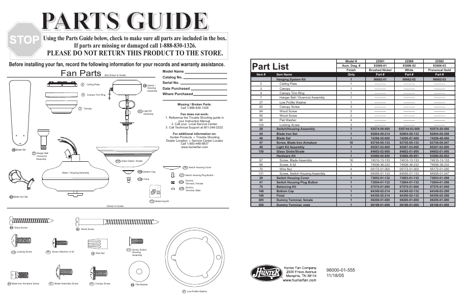 Parts Guide Part List Fan Parts Hunter Fan 22561 User