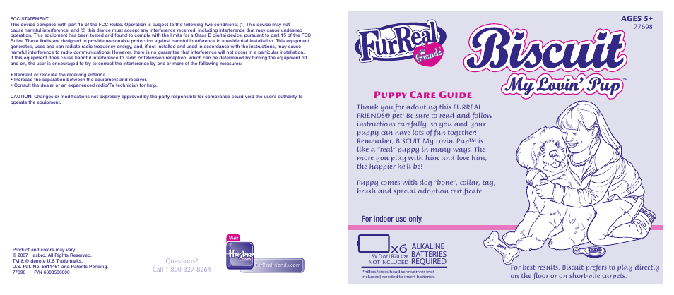 hasbro biscuit my lovin pup 77698 user manual