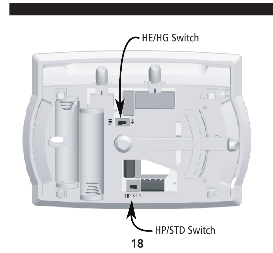 he/hg switch hp/std switch, installing the thermostat, cont | hunter fan  40170 user manual | page 18 / 33