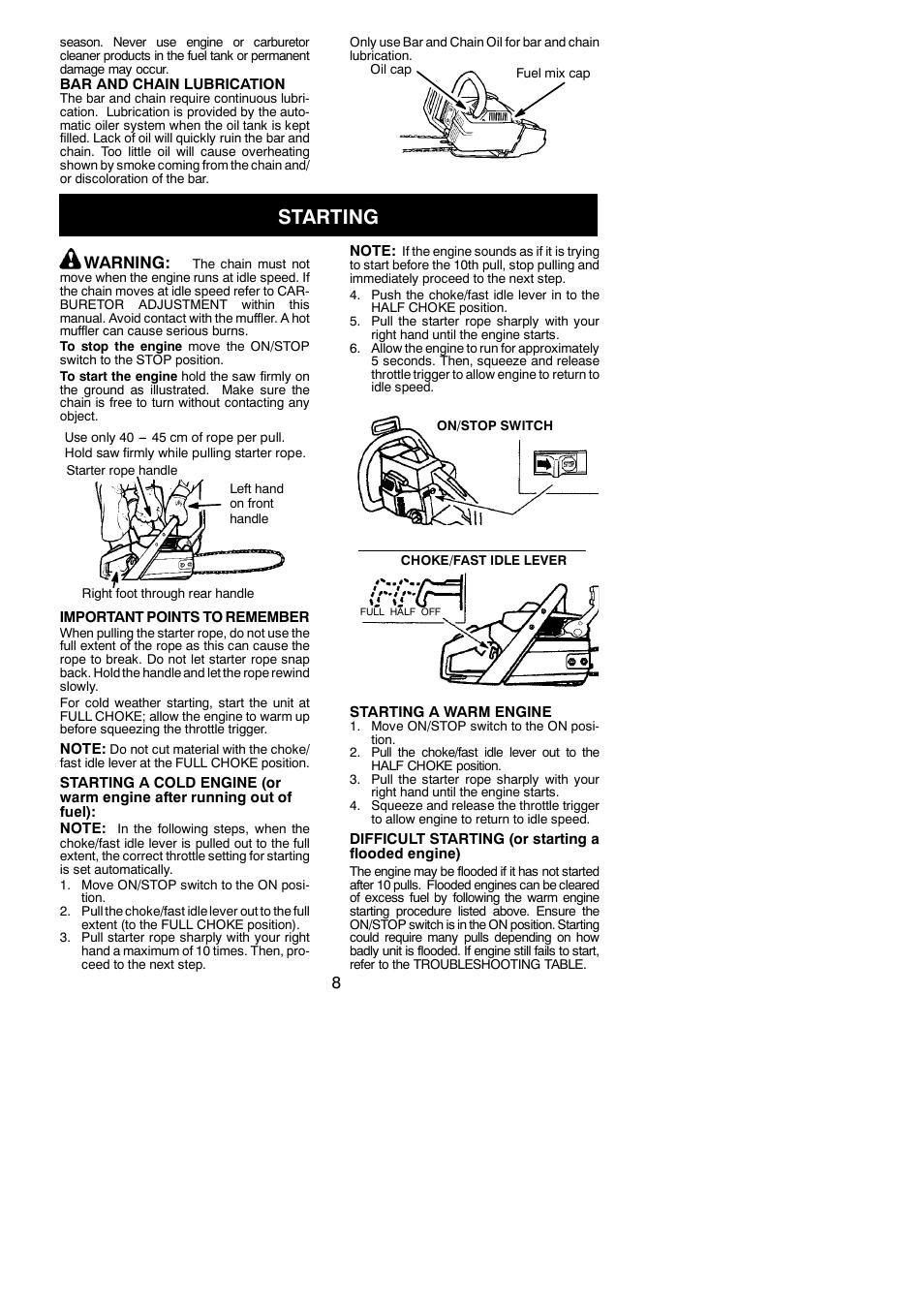 starting warning husqvarna 137 user manual page 8 16 rh manualsdir com husqvarna e series 137 manual husqvarna 137 repair manual