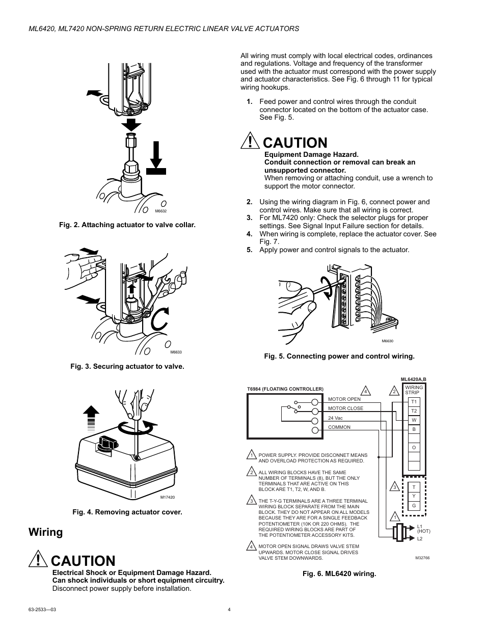 Honeywell Actuator Wiring Diagram Caution Ml6420 User Manual Page 4 8