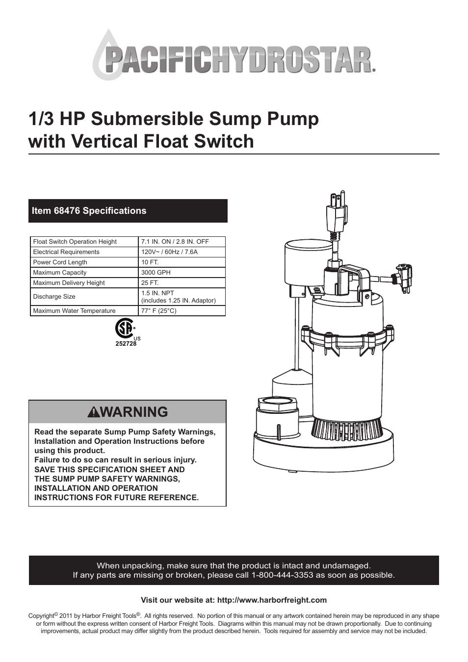 Harbor Freight Tools Pacific Hydrostar 1  3 Hp Submersible Sump Pump With Vertical Float Switch