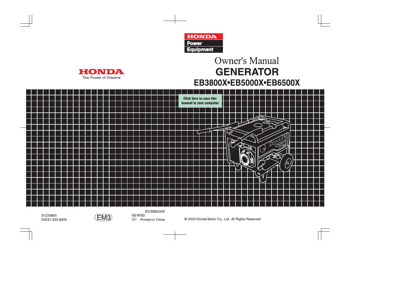 honda eb6500x user manual 75 pages rh manualsdir com honda eb6500x service manual honda eb6500x parts manual