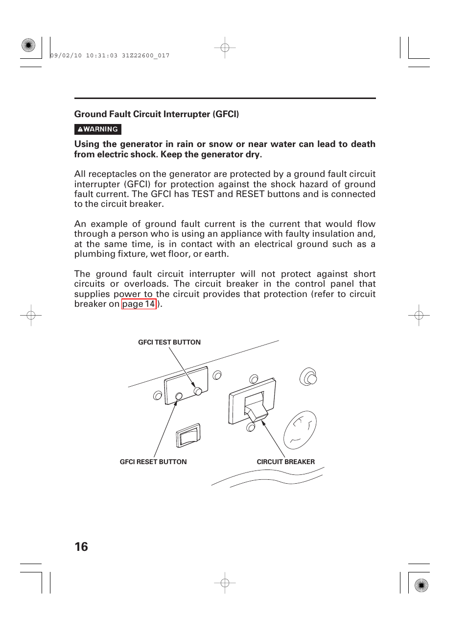Ground Fault Circuit Interrupter Honda Eb6500x User Manual Page Equipped With Gfi Outlets Or 18 75