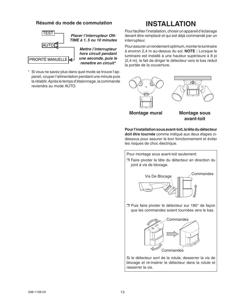 Installation Heath Zenith Motion Sensor Light Control Sh 5412 User