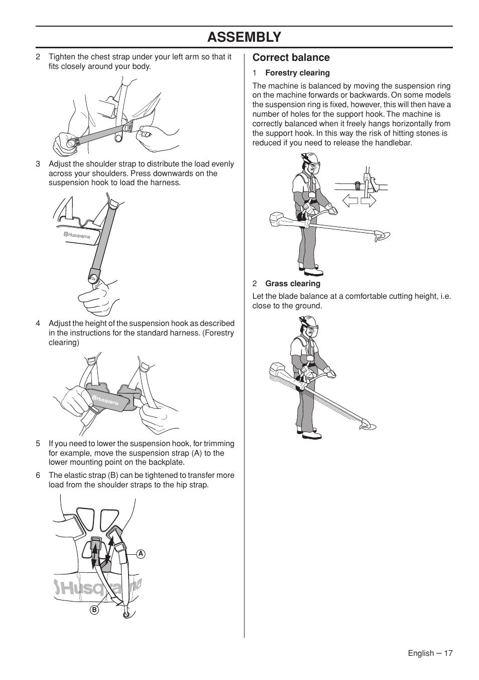 Correct balance, Assembly | Husqvarna 333R User Manual | Page 17 ...