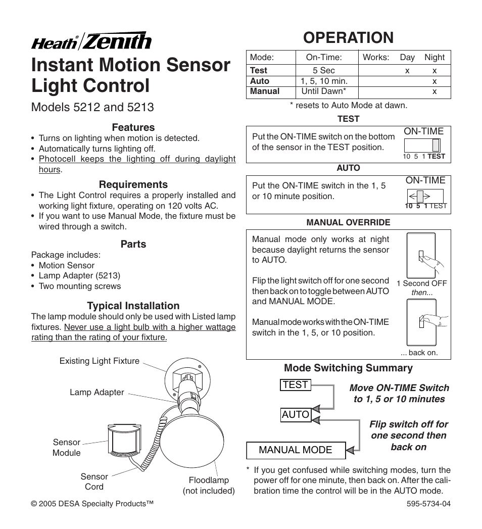 heath zenith 5213 user manual 12 pages also for 5212 rh manualsdir com Security Motion Sensors with Lights heath zenith motion sensing security light instructions