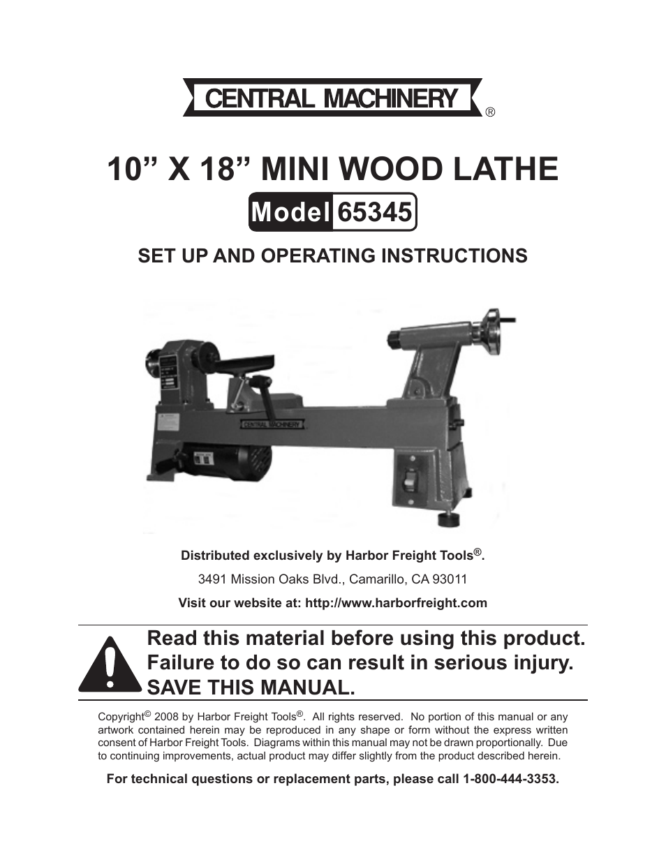 harbor freight tools central machinery 65345 page1 harbor freight tools central machinery 65345 user manual 22 pages