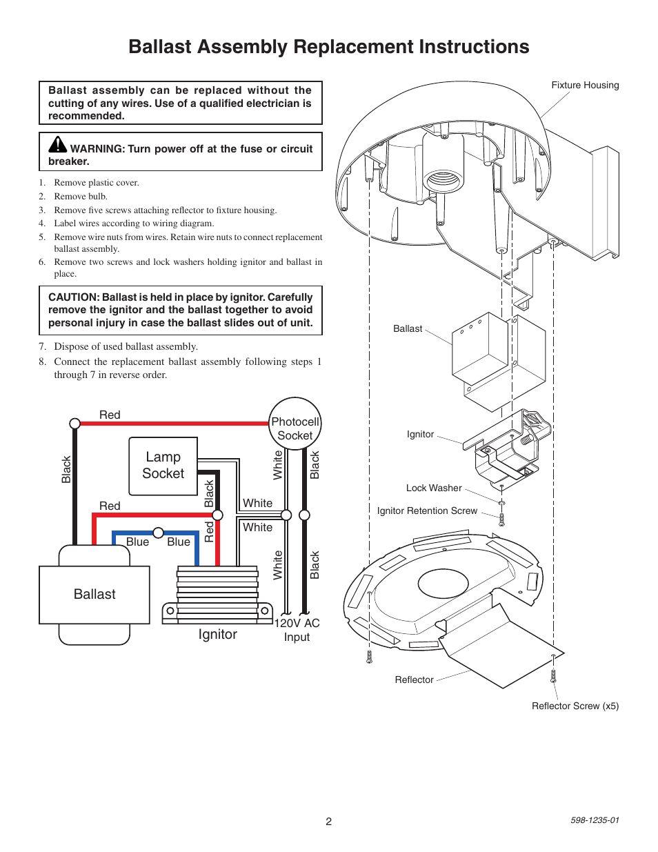Replacement Ballast Wiring Diagram Trusted Schematics 6 Lamp T8 With Two Assembly Instructions Socket Triad