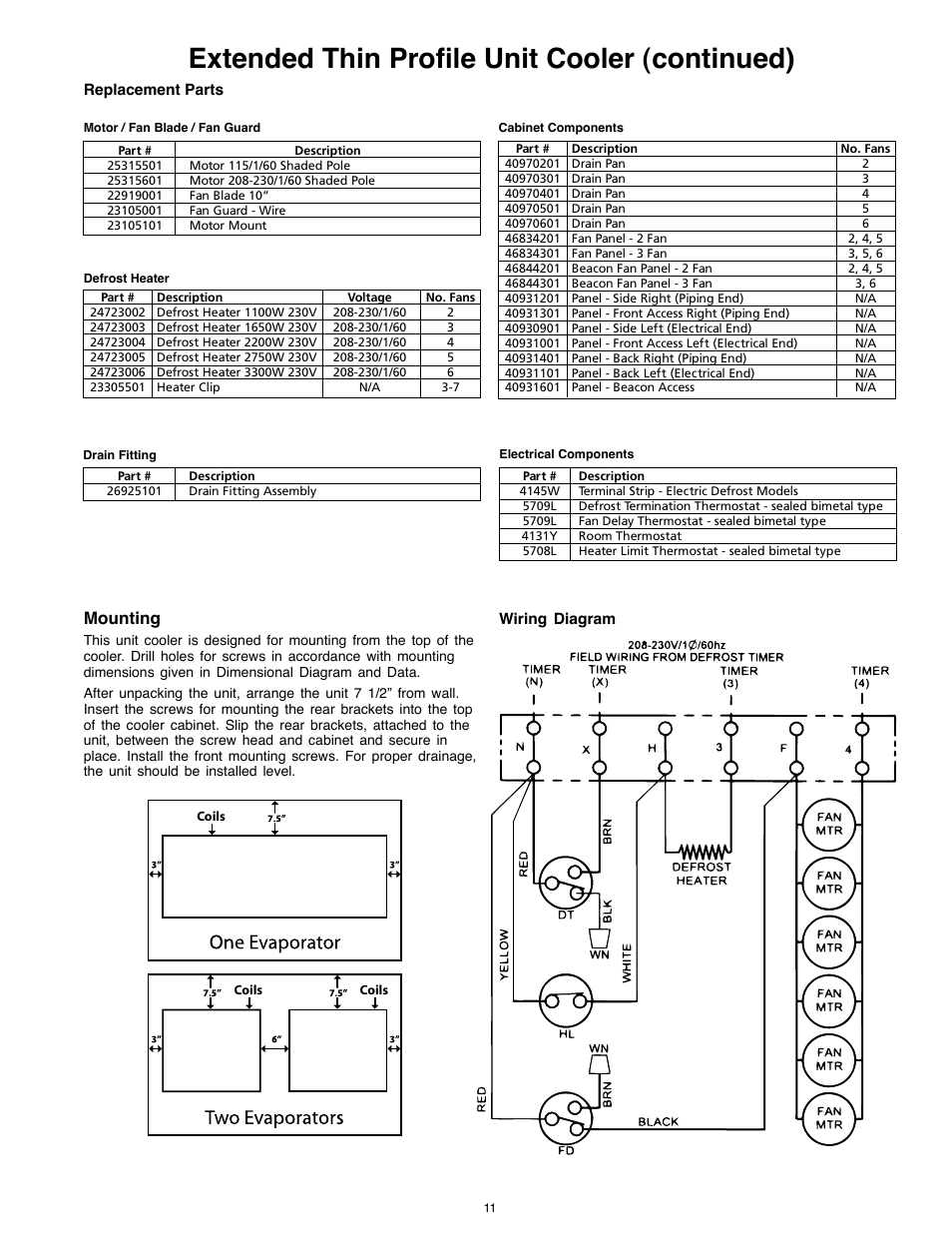 heatcraft refrigeration products 25005601 page11 extended thin profile unit cooler (continued), mounting heatcraft freezer wiring diagram at bayanpartner.co