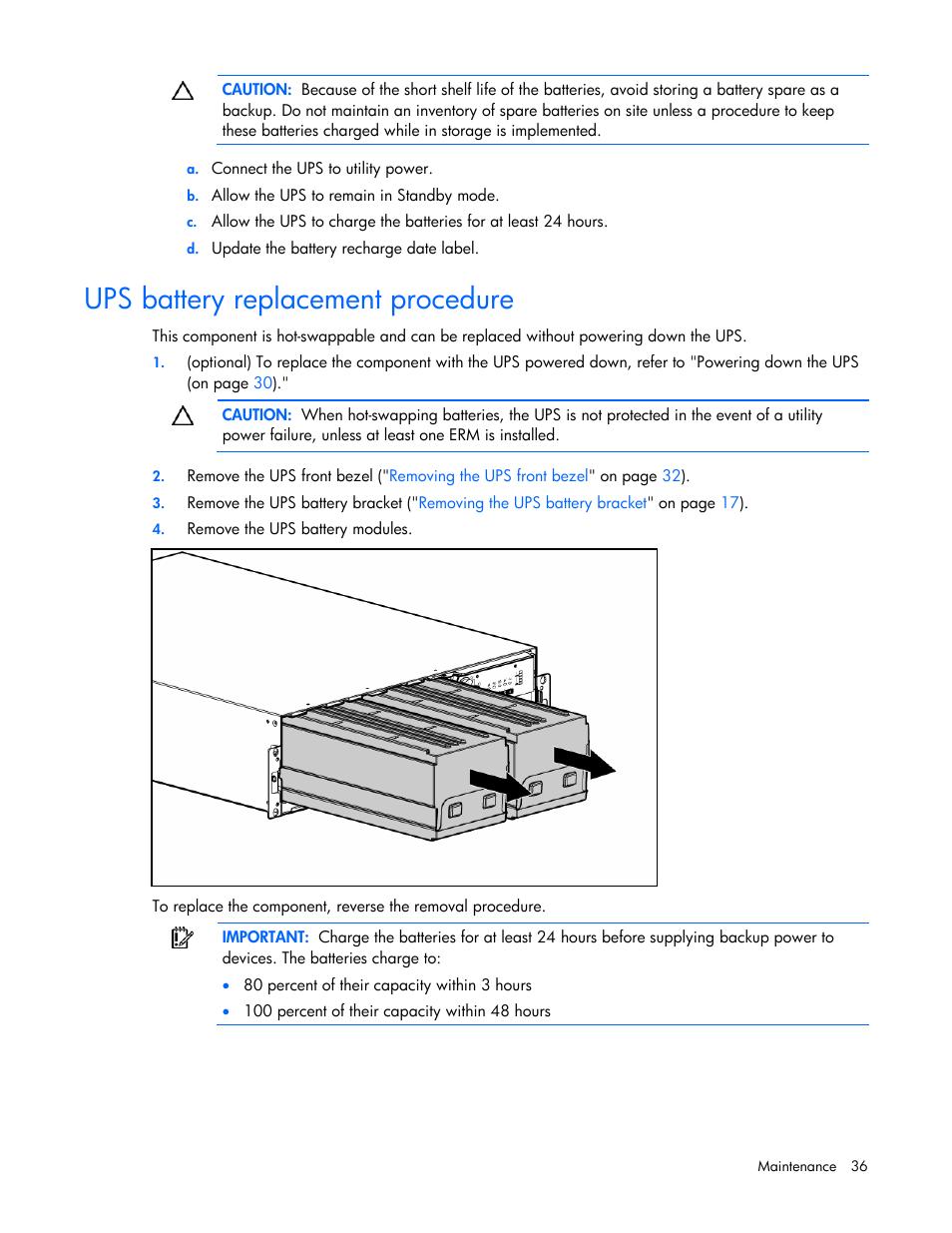 Ups battery replacement procedure | HP R5500 User Manual
