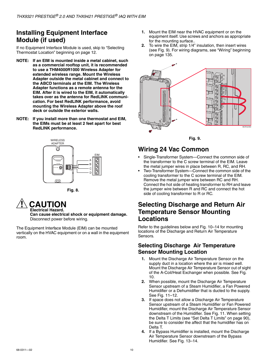 Installing equipment interface module (if used), Wiring 24 vac common,  Mounting locations | Honeywell PRESTIGE THX9321 User Manual | Page 10 / 160