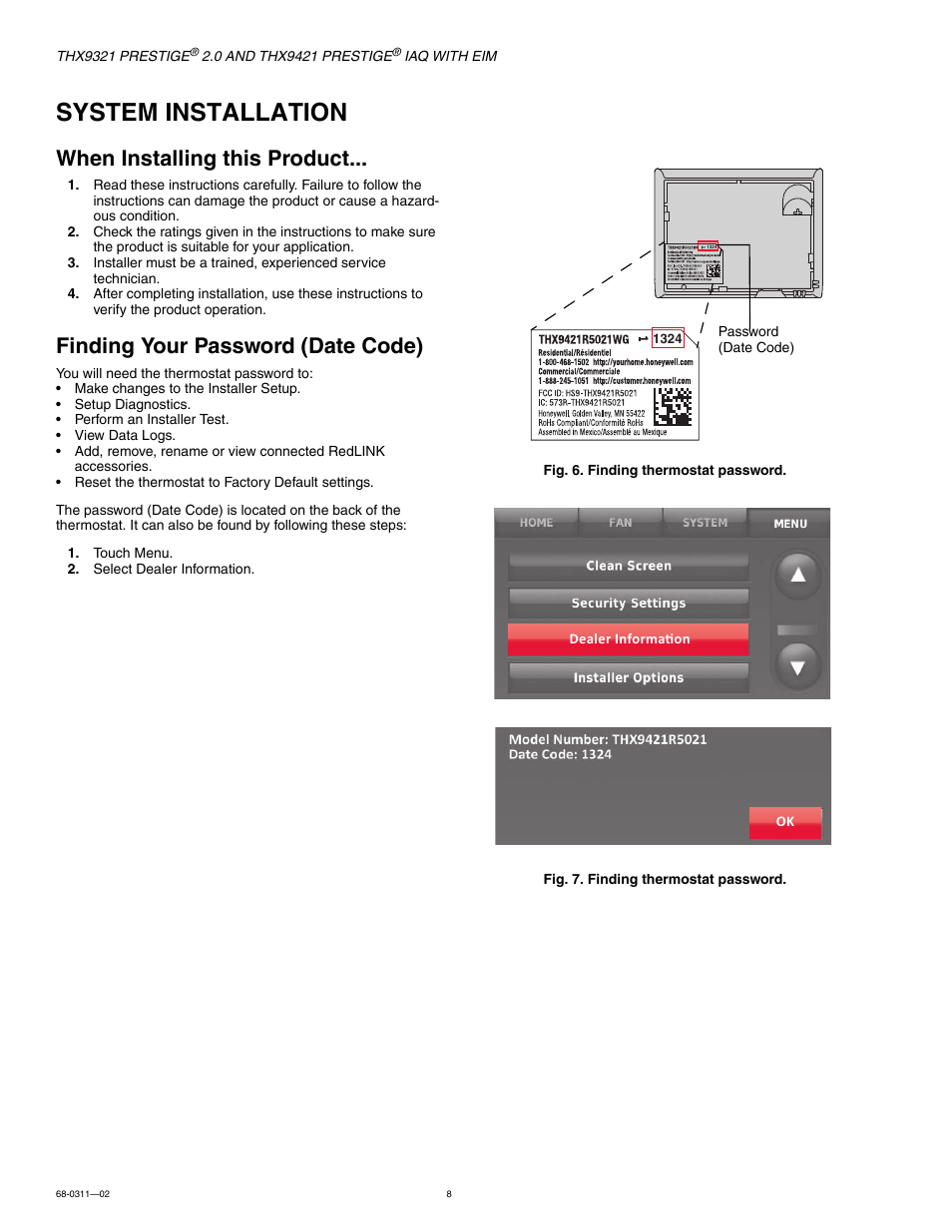 System installation, When installing this product, Finding your password  (date code) | Honeywell PRESTIGE THX9321 User Manual | Page 8 / 160
