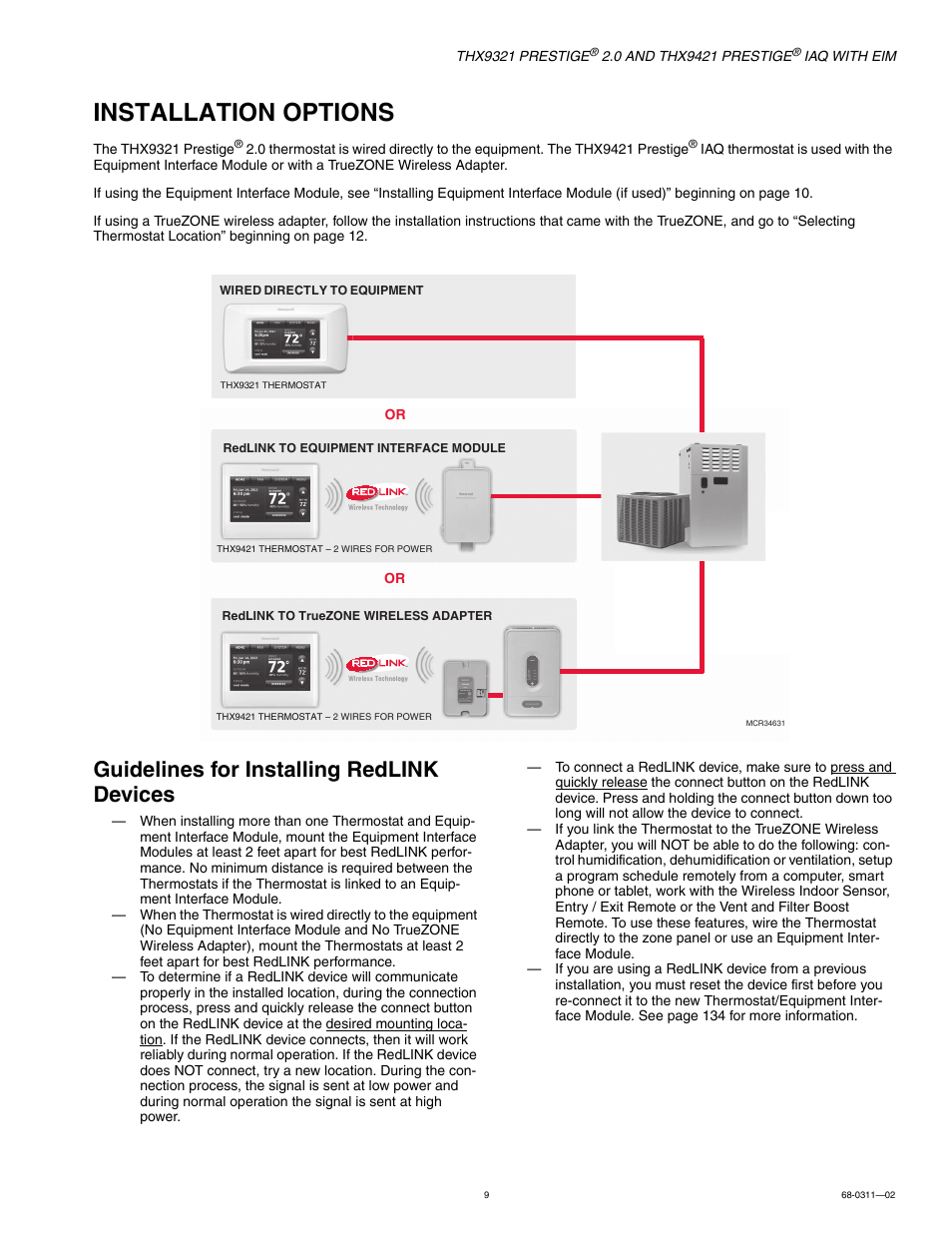 Installation options, Guidelines for installing redlink devices | Honeywell  PRESTIGE THX9321 User Manual | Page