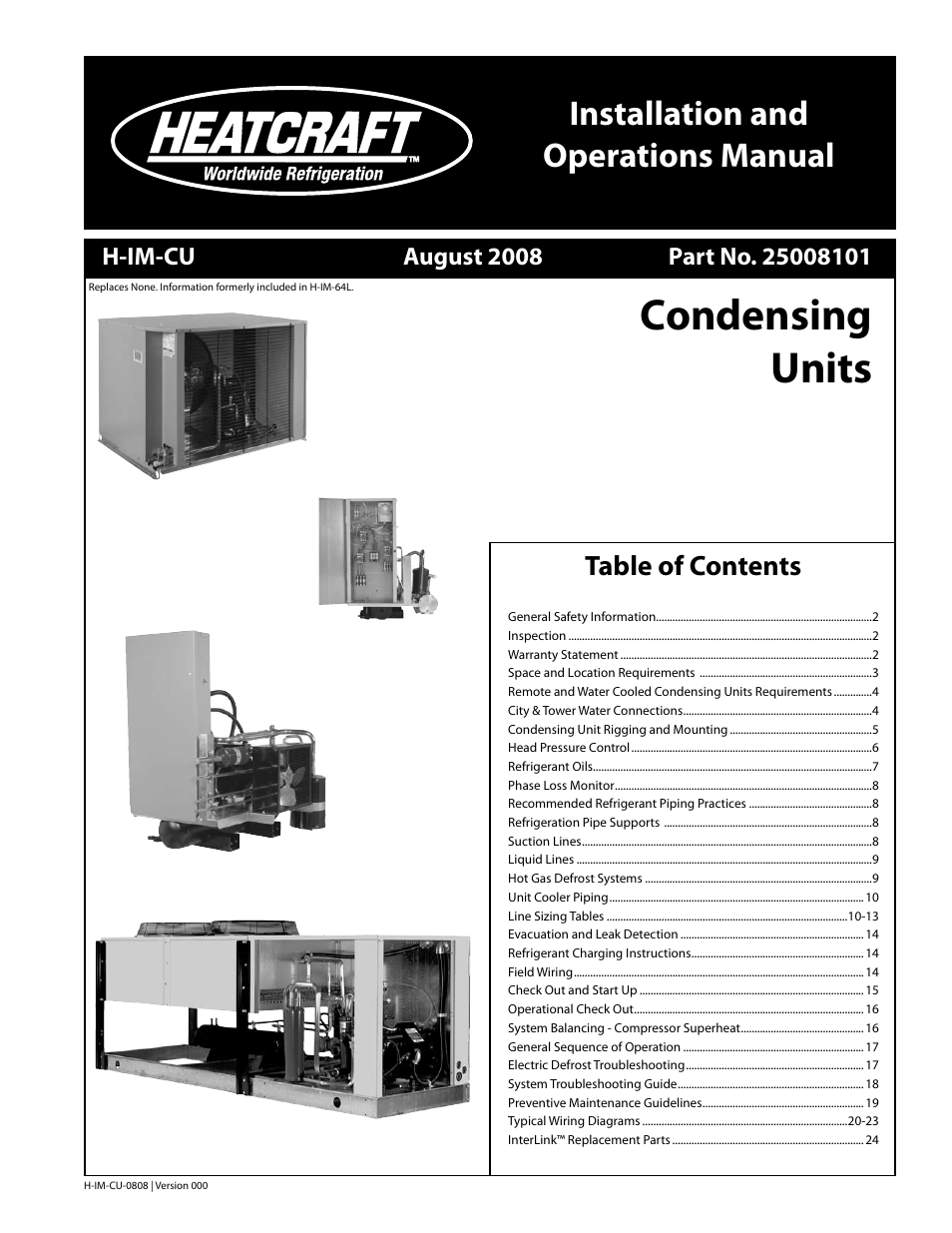 Heatcraft Refrigeration Products Condensing Units H Im Cu User Installation Unit And System Manual 24 Pages