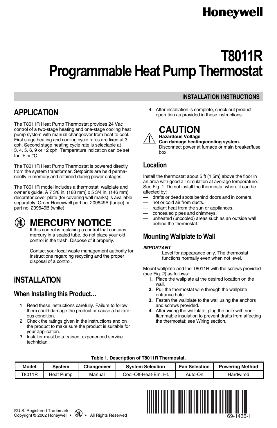 Honeywell Programmable Heat Pump T8011R User Manual | 6 pages