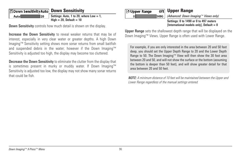Down sensitivity, Upper range | Humminbird 998c SI User