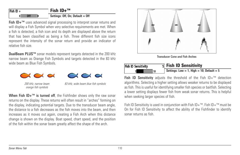 Fish id, Fish id sensitivity | Humminbird 998c SI User