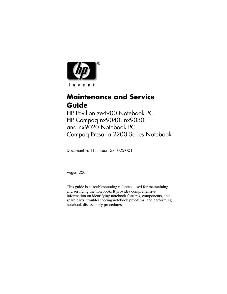 hp ze4900 user manual 182 pages rh manualsdir com Auto Maintenance Guide Tree Maintenance Guide