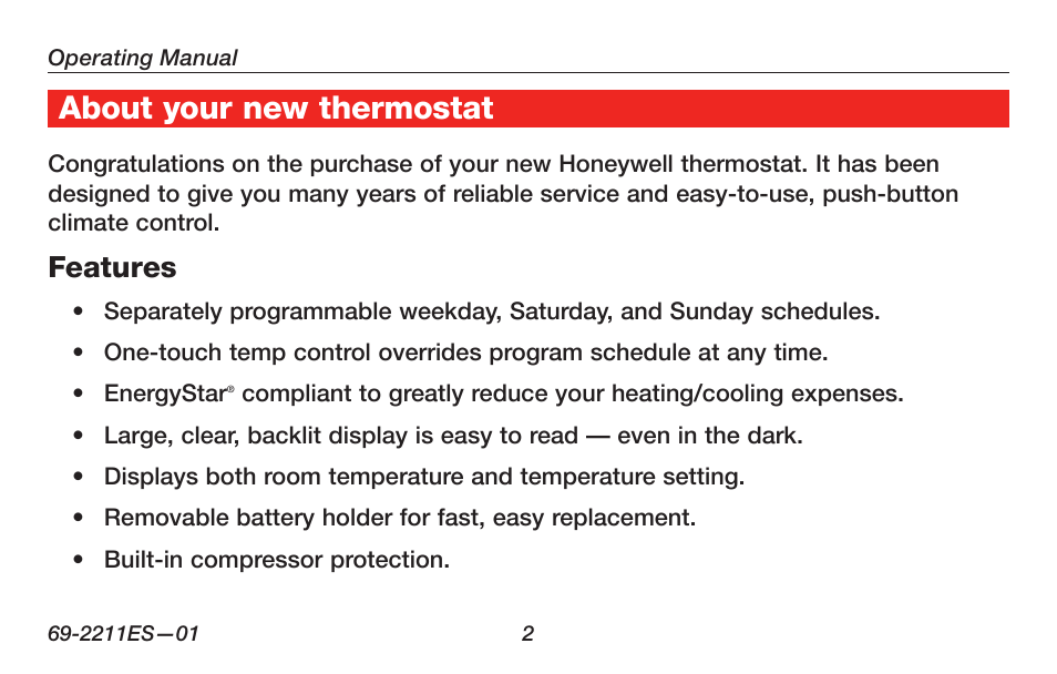 About Your New Thermostat  Features