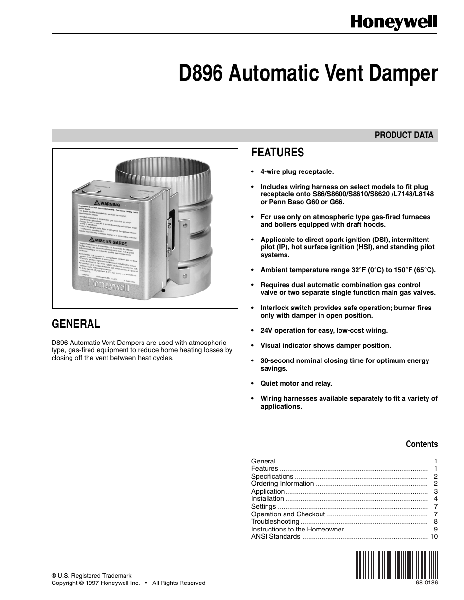 Vent Damper Wiring Diagram Library Ruud Furnace 90 21283 Honeywell Automatic D896 User Manual 12 Pages